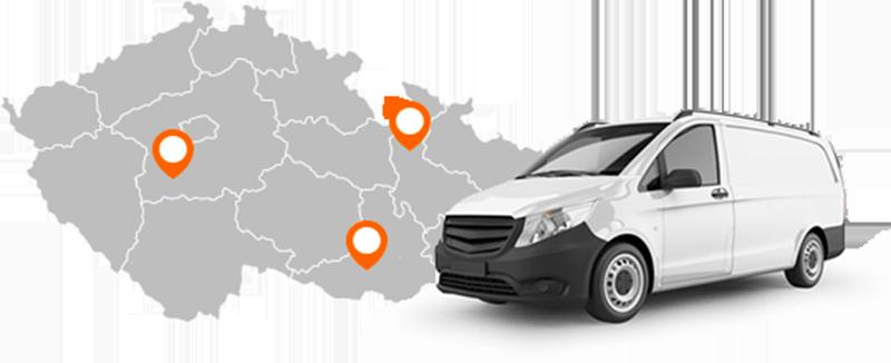 Mapa přistavění auta pro Brno